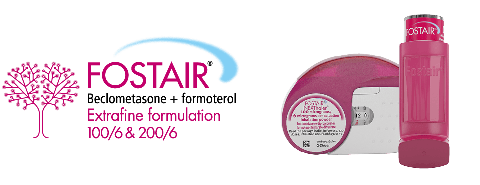 Fostair® logo (beclometasone/formoterol) Extrafine formulation 100/6 & 200/6 - Fostair® NEXThaler® and pMDI devices